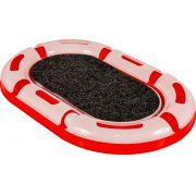 Brinquedo Para Gatos Pista Cat Gp Oval 6 Partes com arranhador central e bolinha led iluminada Jel Plast Vermelha