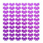 Cartela de adesivo brilhante enfeite cães gatos Laço Roxo glitter para colar no pelo de cachorro ou gato 60 unidades 1cm