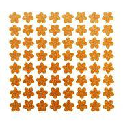 Cartela de adesivo brilhante para enfeite Cães Florzinha Dourada com gliter para colar no pelo de cachorro ou gato 64 unidades 1cm