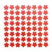 Cartela de adesivo brilhante para enfeite Cães Florzinha vermelha com gliter para colar no pelo de cachorro ou gato 64 unidades 1cm