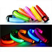 Coleira luminosa LED para Cães e Gatos Brilha e Pisca - Coleira com luz à bateria
