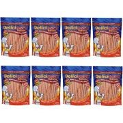 Combo Petisco Palitinho Ossinho Para Cães Deliciosso Palito Natural Fino Salmão - 8 pacotes de 200g cada