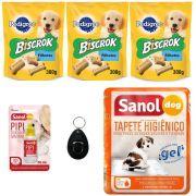 Combo biscoito e acessório cães: 3 Biscrok Filhote, Tapete sanol 7 Unidades, Clicker adestrador Chalesco e Adestrador Sanol Xixi pode