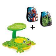 Combo Boia De Piscina Para Criança Bote Sapinho Com Sombrero Suporta Até 11kg + Boia de braço Avengers Vingadores Marvel