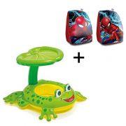 Combo Boia De Piscina Para Criança Bote Sapinho Com Cobertura Suporta Até 11kg + Boia de braço Homem Aranha Spider Man Marvel