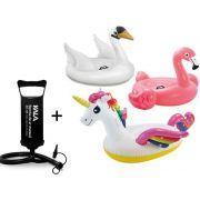Combo Boias Infláveis Divertidas para piscina + Bomba de ar: Unicórnio. Cisne Branco. Flamingo Rosa. Boias Instagram Blogueiras Famosas