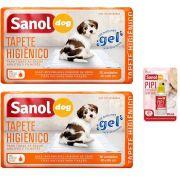 Combo com 2 Tapetes Higienicos para Cachorro 30 un e 1 Educador Canino Atrativo para cães Xixi Pode Sanol