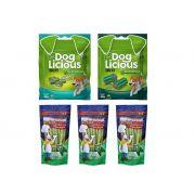 Combo petiscos para cachorro controle de tártaro, hálito e higiene Bucal: 3 Deliciosso Menta + 2 DogLicious Dental (Fresh + Crunch)