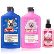 Combo Kit Banho cachorro: Shampoo Antipulga, Condicionador revializante, Perfume Floral Sanol