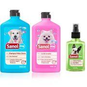Combo Kit completo para banho de cachorro: Shampoo Pelos Claros, Condicionador Revitalizante e Perfume machos