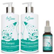 Combo tratamento floral para cachorro: Kit banho Shampoo e Condicionador e Floral veterinário Lambedura e Automutilação Bioflorais Pet
