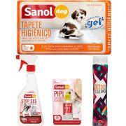 Educador Sanitário para Cães Stop Dog +  Tapete Higiênico para cães 30 Unidades  + Xixi Sim +  Limpa Xixi  Sanol