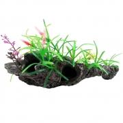 Enfeite para Aquário Tronco com plantas 20cm Vigo Ar