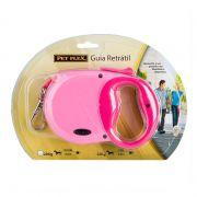 Guia Retrátil recolhivel extensível Soft Pet Flex para cachorros até 32 KG Fita com 3 metros - Rosa Pink