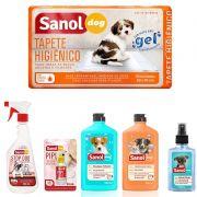Combo para cachorro: Tapete higienico, Educador canino Xixi Pode e Xixi não pode sanol, Shampoo condicionador e coloônia filhotes