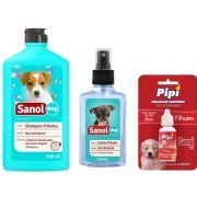 Kit Banho Filhotes + Atrativo Canino: Shampoo Para Cães Filhotes +  Colônia Filhotes + Educador Atrativo Pipi sim Sanol