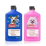 Kit Banho para cachorro: Shampoo Anti Pulgas e Condicionador Revitalizante Sanol