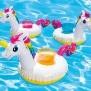 Kit com 3 porta copo Unicórnio inflável piscina mar - Drink Holders Intex 41x20cm Unicórnio