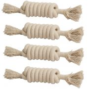Kit com 4 unidades Brinquedo mordedor de corda para Cachorro Chalesco corda modelo mola 19cm x 5cm