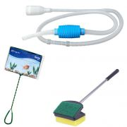 Kit de limpeza de aquário: Limpador de vidro Espuma esponja e raspador 35cm + Peneira / Rede n3+  Sifão limpador de aquário com bomba manual Vigoar