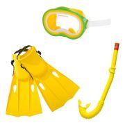 Kit Mergulho Master Conjunto para mergulho e Natação: Máscara Snorkel e Nadadeira Amarelo Intex 55955