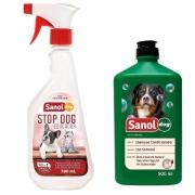 Kit Shampoo e condicionador 2 em 1 com educador stop pipi não pode para Cachorro Sanol Dog