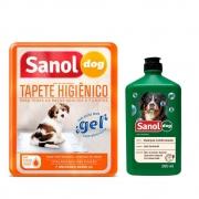 Kit Shampoo e condicionador 2 em 1 com tapete higienico tipo fralda 7un para Cachorro Sanol Dog