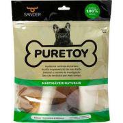 Pacote kit de osso natural Casco de boi Puretoy Raças pequenas e médias - 2 ossos bovinos, 2 Cascos Bonivos, 1 Chifre Bovino