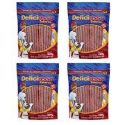Palito Ossinho fino para cães sabor Carne Combo com 4 unidades Carne Deliciosso 200g