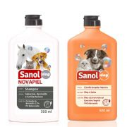 Shampoo de Alergia para cães Peróxido de Benzoila Bactericida Seborreico Novapiel e Condicionador Neutro Sanol Cachorro e Gatos