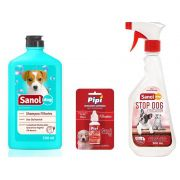 Shampoo Filhote + Atrativo Canino Xixi Sim + Educador Sanitario Stop Dog