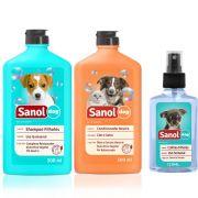 Kit Banho Cachorros Filhotes: Shampoo para Cães Filhotes + Perfume Colônia filhotes Baby + Condicionador Neutro Sanol