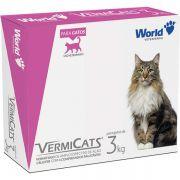 Vermífugo para gatos World Veterinária VermiCats com 4 comprimidos. Gatos de 3 Kg