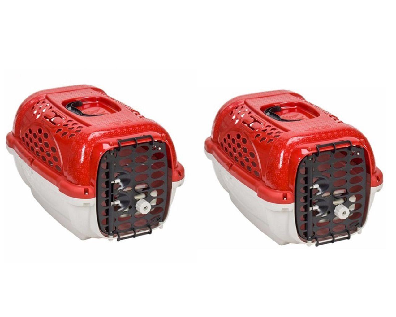 2 Caixas De Transporte Cães E Gato Panther Nº1 Vermelhas