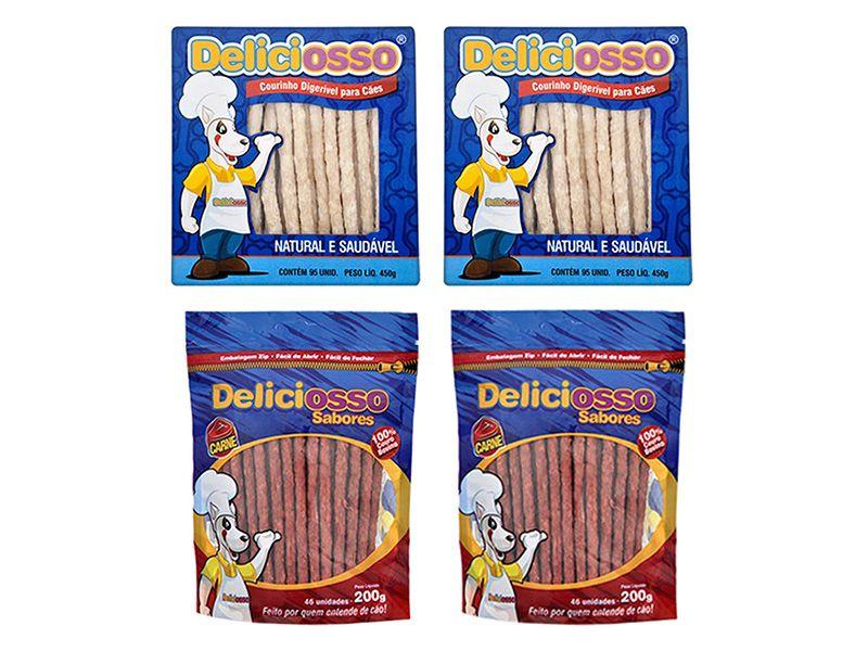 2 Caixas Ossinho Para Cães Palito Fino Natural E 2 Pacotes Ossinho Palito Carne Deliciosso
