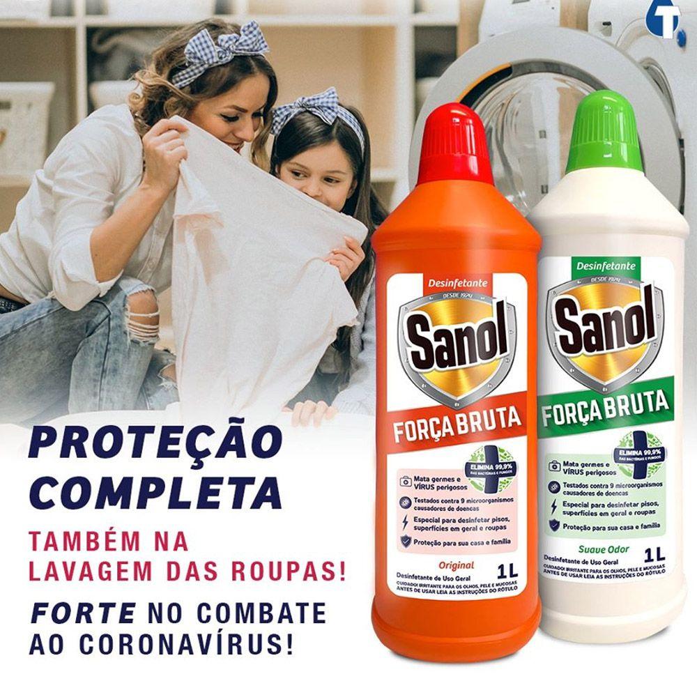 3un Desinfetante Força Bruta Sanol 1L Suave odor - Elimina 99,9% de vírus, bactérias e germes - Eficácia contra todos os vírus e Bactérias