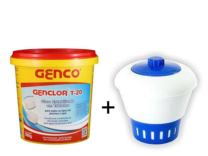 45 Mini Tabletes Cloro Genco + Clorador Flutuador Margarida Médio (Flutuador margarida para cloro)