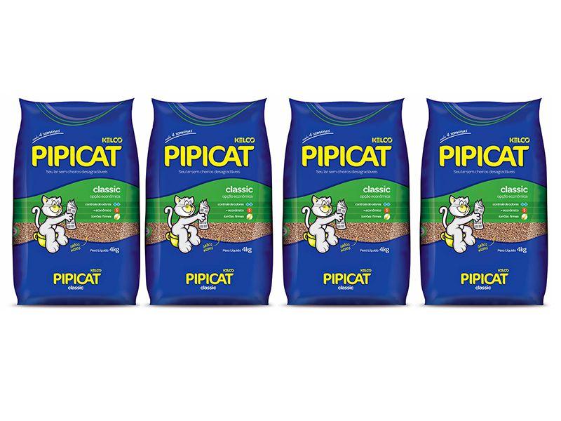 4 pacotes Areia Sanitária Higiênica para gatos Kelco Pipicat Classic 4kg