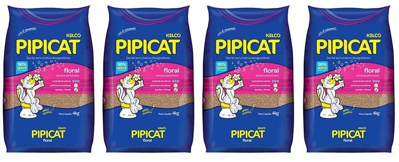 4 pacotes Pipicat Floral Areia Higiênica Perfumada Para Gatos 4KG