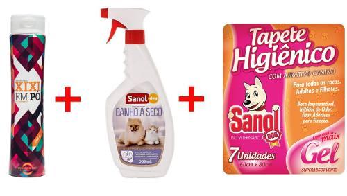 Banho A Seco Cães E Gato + Seca xixi (xixi em pó) + Tapete Higienico 7un