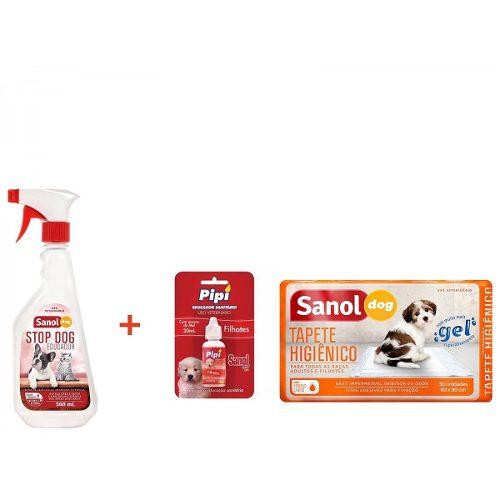 Tapete Higienico Sanol Dog 30 unidades + Educador Sanitário Canino Stop Dog + Atrativo Sanitário Canino Pipi Pode Sanol
