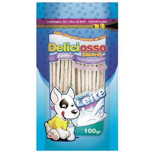 Osso Deliciosso Baby Palito Fino Leite para Cães Filhotes Ossinho para cachorro filhote - 100 g
