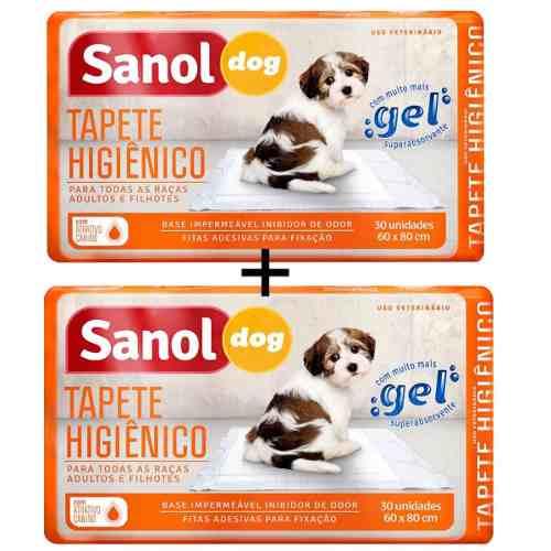 Tapete Higiênico Para Cães Sanol C/ 60 Unidades - 80x60cm