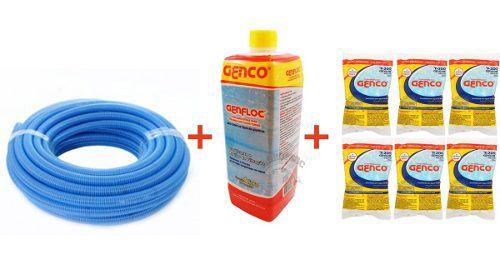 Limpeza De Piscina: 6m Mangueira, Decantador - Clarificante para água E 6 un Pastilhas de cloro puro