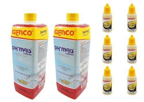 Combo manutenção de piscina: 2 Ph Mais Genco + 6 Reagentes De Cloro Genco