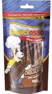 Combo Petisco Palitinho Ossinho Para Cães Deliciosso Palito Fino Chocolate - 4 Pacotes