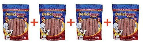4 Ossinho Para Cães Palito Fino Carne Deliciosso 200g