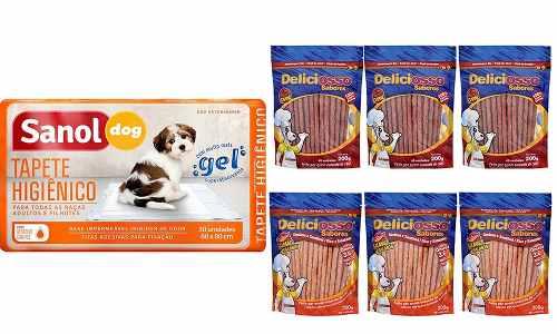 Kit para Cães: Tapete Higienico Para Cães Sanol (30 unidades)  + 6 Pacotes Ossinho Palito Deliciosso Sabores