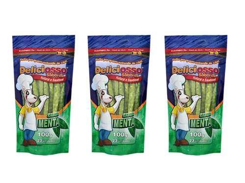 Palito Ossinho fino para cães sabor Menta Deliciosso 100g Combo com 3 unidades