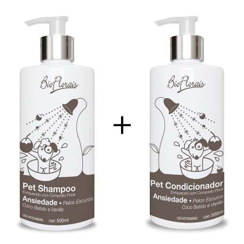 Kit Banho para cães Tratamento Bio Florais Floral Shampoo Condicionador Pêlos Escuros Tratamento Ansiedade
